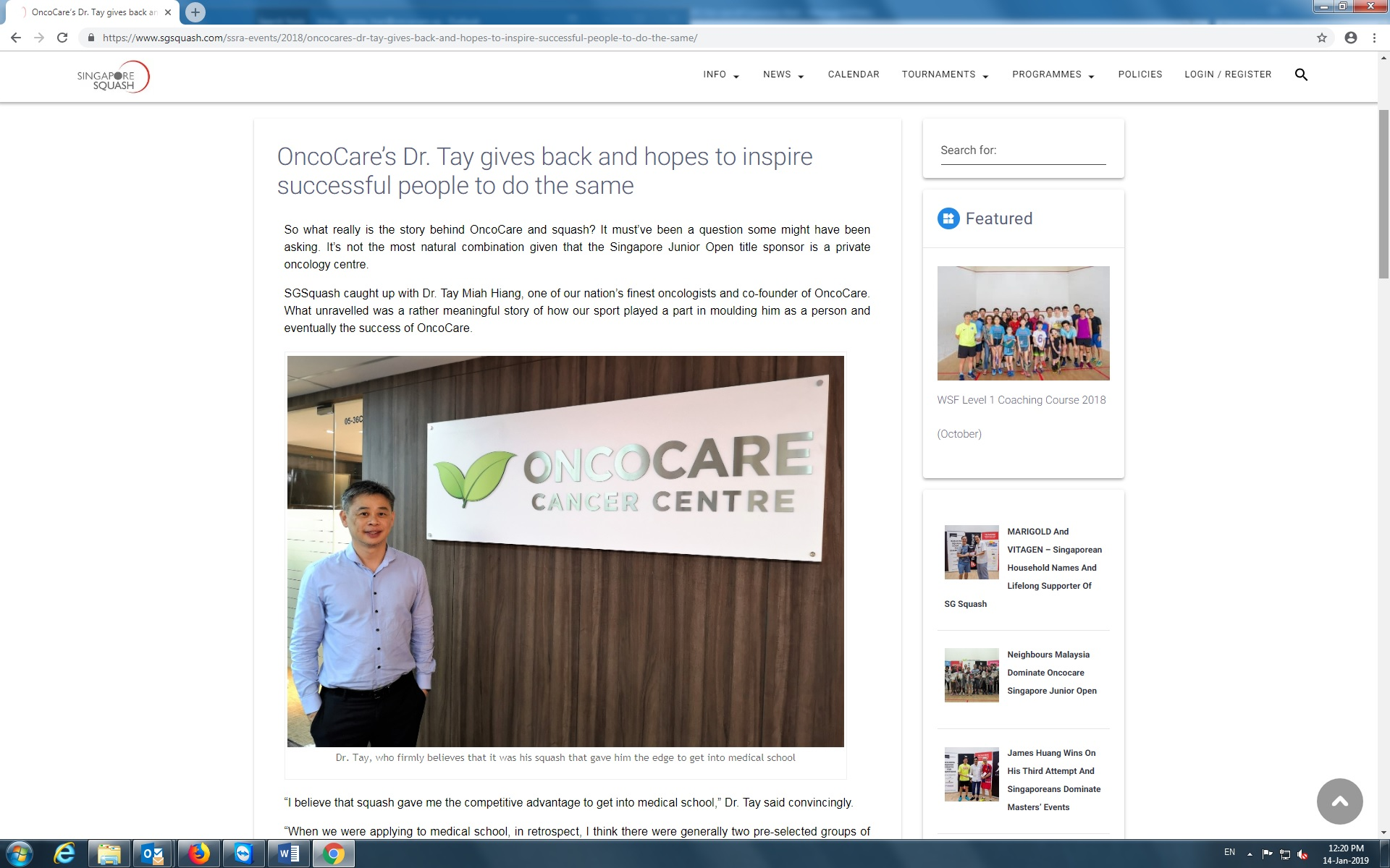 Singapore Squash Rackets Association (SSRA) interviewed Dr Tay Miah Hiang, OncoCare Cancer Centre (Singapore)